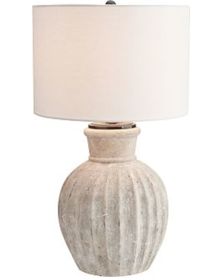 """Anders Terra Cotta 31"""" Round Table Lamp, Rustic White Base With Large Gallery Stright-Sided Linen Drum Shade, White"""