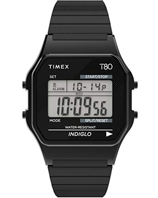Timex T80 34mm Watch – Black with Stainless Steel Expansion Band