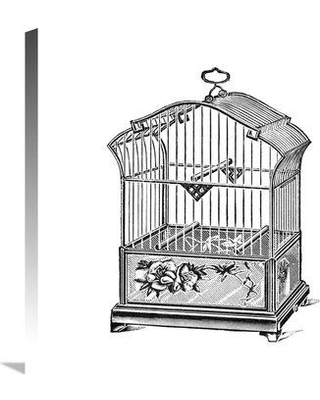 """East Urban Home 'Etchings Birdcage Gable Top Rose Base' Graphic Art Print on Canvas ETUC3709 Size: 24"""" H x 24"""" W x 1.5"""" D"""