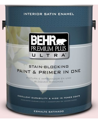 BEHR Premium Plus Ultra 1 gal. #140A-1 Strawberry Yogurt Satin Enamel Interior Paint and Primer in One