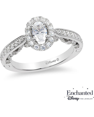 Enchanted Disney Ariel 1 Ct T W Oval Diamond Frame Engagement Ring In 14k White Gold