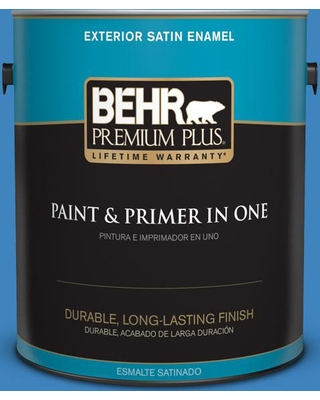 BEHR PREMIUM PLUS 1 gal. #560B-6 Warm Spring Satin Enamel Exterior Paint and Primer in One