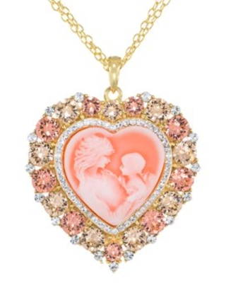 """Brilliance Fine Jewelry Rose Crystal Sterling Silver and 18K Gold-Plate Heart Cameo Pendant, 18"""" Necklace"""