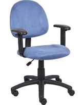 Microfiber Deluxe Posture Chair with Adjustable Arms Blue - Boss Office Products