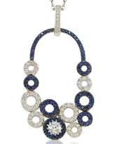 Suzy L. Multi-Circle Sapphire and Diamond Pendant in Sterling Silver and 18K Gold - Blue (Pendant)