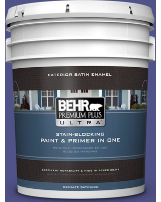 BEHR ULTRA 5 gal. #P550-7 Purple Prince Satin Enamel Exterior Paint and Primer in One