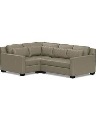 York Deep Seat Square Arm Leather Right Arm 3-Piece Corner Sectional with Bench Cushion, Polyester Wrapped Cushions, Legacy Taupe