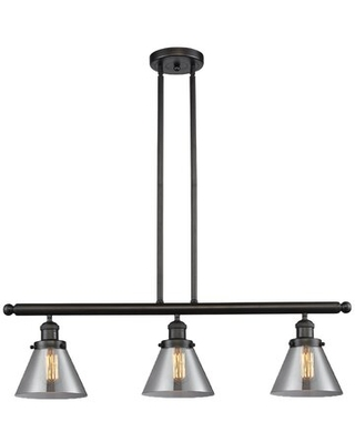 """Wyndmoor Glass Cone 3-Light Kitchen Island Pendant Breakwater Bay Finish: Oil Rubbed Bronze, Shade Color: Smoked, Size: 36"""" H x 36"""" W x 5"""" D"""