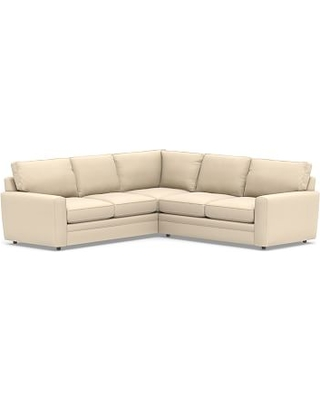 Pearce Square Arm Upholstered 2-Piece L-Shaped Sectional, Down Blend Wrapped Cushions, Performance Everydayvelvet(TM) Buckwheat