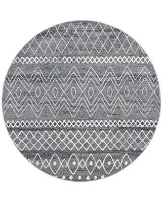 """Safavieh Madison Collection MAD798F Moroccan Boho Distressed Area Rug, 6' 7"""" Round, Charcoal/Ivory"""