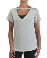 Vimmia Women's Star Scoop V Neck Tee - Small - Light Heather Grey Stripe
