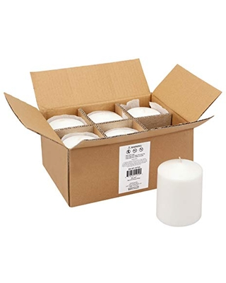 Stonebriar 35 Hour Long Burning Unscented Pillar Candles, 3x4, White