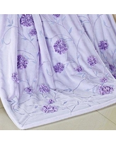 BOON Throw & Blanket Embroidered Ribbon Faux Fur Throw 6000 Color: Light Blue