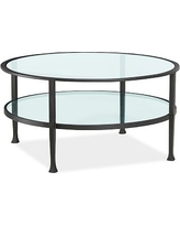 Tanner Metal & Glass Round Coffee Table, Matte Iron-Bronze finish