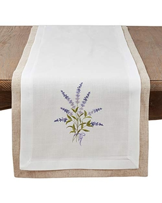 """Ivory Double Layer Lavender Table Runner - 16""""x72"""" Oblong"""