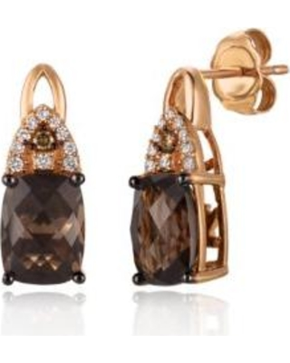 Le Vian Strawberry Gold Chocolate Quartz with Vanilla Diamonds and Chocolate Diamonds Earrings in 14K Strawberry Gold