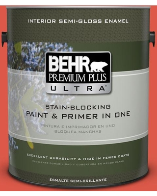 BEHR Premium Plus Ultra 1 gal. #T12-7 Red Wire Semi-Gloss Enamel Interior Paint and Primer in One