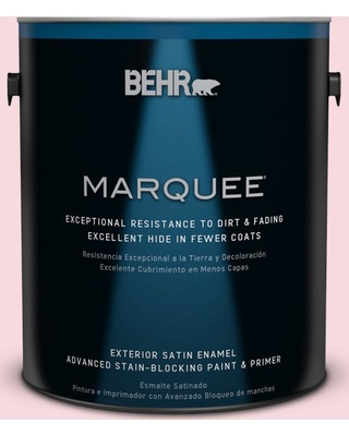 BEHR MARQUEE 1 gal. #130C-1 Powdered Blush Satin Enamel Exterior Paint and Primer in One