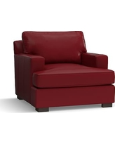 Townsend Square Arm Leather Armchair, Polyester Wrapped Cushions, Leather Signature Berry Red