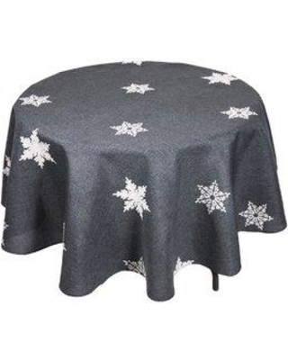 The Holiday Aisle Snowflake Embroidered Christmas Round Tablecloth THDA1985 Color: Gray