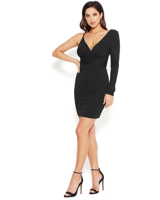 Bebe Women's One Shoulder Long Sleeve Dress, Size Small in Black Polyester