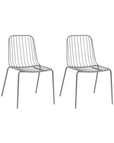 Set of 2 Kids' Parallel Wire Activity Chairs Gray - ACEssentials