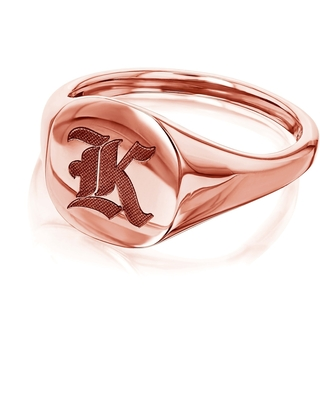 Annello by Kobelli 14k Rose Gold Personalized Signet Initials Cushion Ring - Old Script (X - 6)