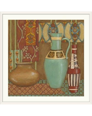 """Great Big Canvas 'Tapestry Still Life I' Chariklia Zarris Painting Print 1131612_1 Size: 32"""" H x 32"""" W x 1"""" D Format: White Framed"""