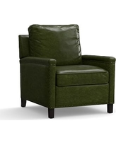 Tyler Leather Recliner with Bronze Nailheads, Polyester Wrapped Cushions, Legacy Forest Green