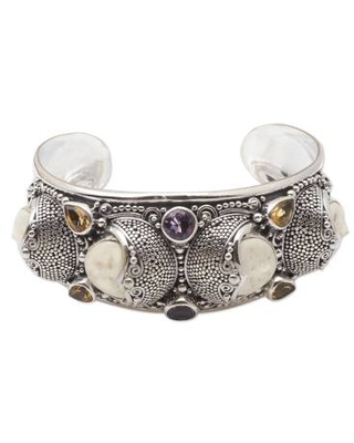 Hand Crafted Amethyst and Citrine Cuff Bracelet