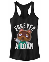 """""""Juniors' """"Animal Corssing Forever A Loan"""" Racerback Tank, Girl's, Size: XS, Black"""""""