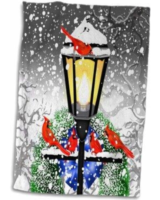 East Urban Home Christmas Street Lamp Wreath Bow Snow and Cardinals in Winter Tea Towel W000614145