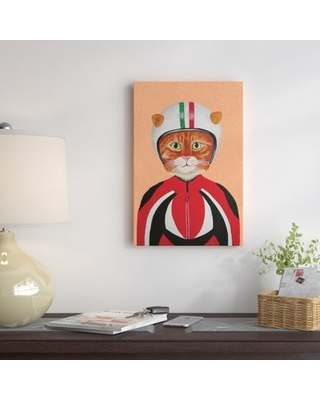 """'Cat with Helmet' Painting on Wrapped Canvas East Urban Home Size: 26"""" H x 18"""" W x 0.75"""" D"""