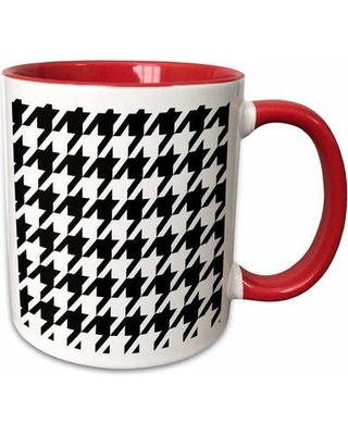 """East Urban Home Houndstooth Coffee Mug W000273162 Size: 3.75"""" H x 4"""" W x 3"""" D Color: Red"""