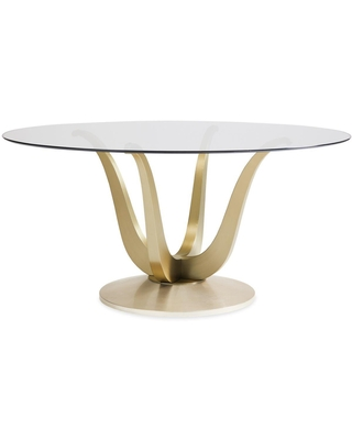 Caracole Classic Glass Top Pedestal Base Round Dining Table
