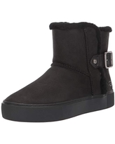 UGG Women's AIKA Ankle Boot, Black Leather, 5 M US