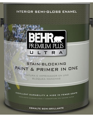 BEHR Premium Plus Ultra 1 gal. #N350-6 Peppergrass Semi-Gloss Enamel Interior Paint and Primer in One