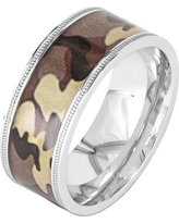 Men's Crucible Stainless Steel Camouflage Ring - Brown (11)