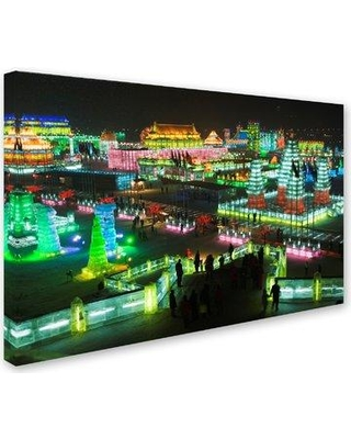 """Trademark Fine Art 'Lit Up City' Photographic Print on Wrapped Canvas ALI18875-C Size: 22"""" H x 32"""" W"""