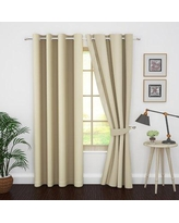 """Charlton Home® Karim Solid Color Blackout Thermal Grommet Curtain Panels Curtain, Size per Panel: 46"""" W x 63"""" L, Polyester in Beige 