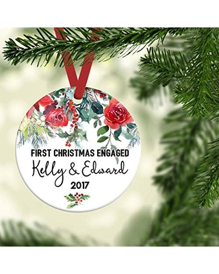 "Personalized engagement Christmas ornament, 3"" Porcelain Ornament with Ribbon & Free Gift Box"