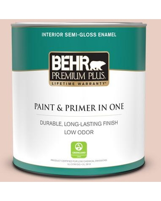 BEHR PREMIUM PLUS 1 qt. #S180-1 Angelico Semi-Gloss Enamel Low Odor Interior Paint and Primer in One