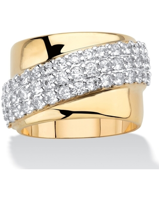 Yellow Gold-Plated Cubic Zirconia Diagonal Wide Band Ring