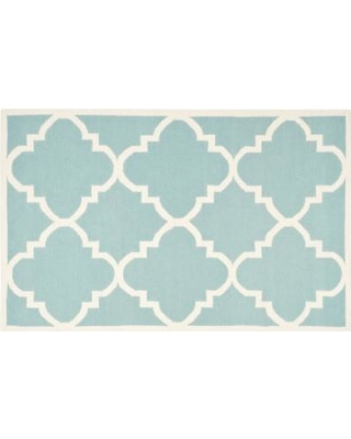 Safavieh Dhurries Quatrefoil Handwoven Flatweave Wool Rug, Light Blue, 6X9 Ft