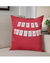 "The Holiday Aisle Happy Holidays Banner Print Throw Pillow HLDY1231 Size: 26"" H x 26"" W, Color: Cranberry"