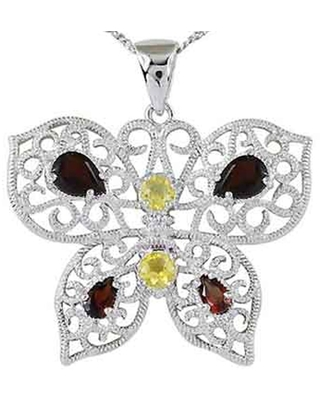 Garnet, Citrine Sterling Silver Pear Solitaire Pendant by Orchid Jewelry (Citrine - 18 Inch - White - Red - White)