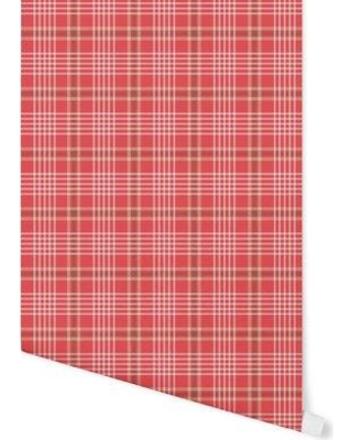 August Grove Hinshaw Milk and Cookies Plaid Peel and Stick Wallpaper Panel BF057701 Color: Red
