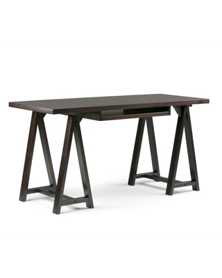 Brooklyn + Max 60 in. Rectangular Dark Chestnut Brown Writing Desk with Solid Wood Material