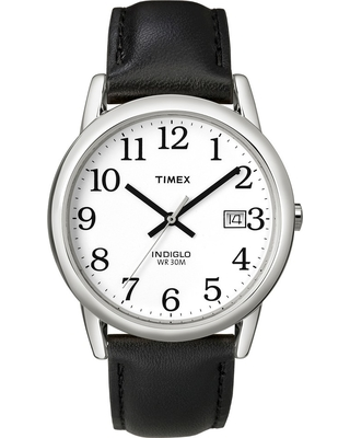 Men's Timex Easy Reader Watch with Leather Strap - Silver/Black T2H281JT, Blk Leather