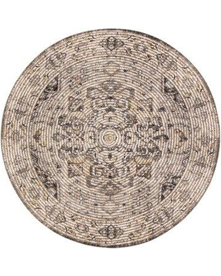 Bungalow Rose Edgerton Distressed Handwoven Flatweave Brown Area Rug BF213039 Rug Size: Round 8'